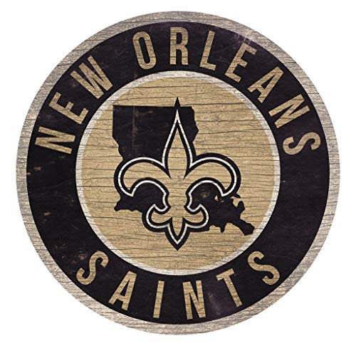 Fan Creations New Orleans Saints Wood Sign 12 Inch Round State -