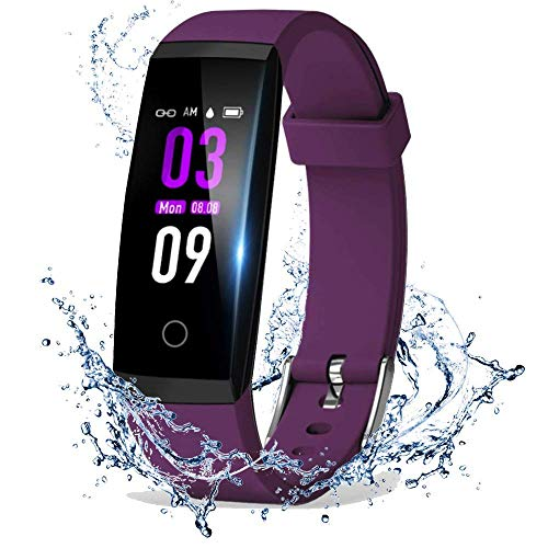 DoSmarter Fitness Tracker, Color Screen Activity Health Tracker with Heart Rate Blood Pressure Monitor, Waterproof Smart Pedometer Watch Band with Step Calories Counter for Kids Woman Man, Purple