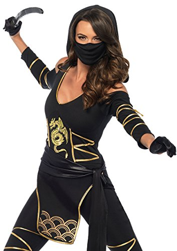 Leg Avenue Women's Stealth Ninja Costume, Black/Gold Large