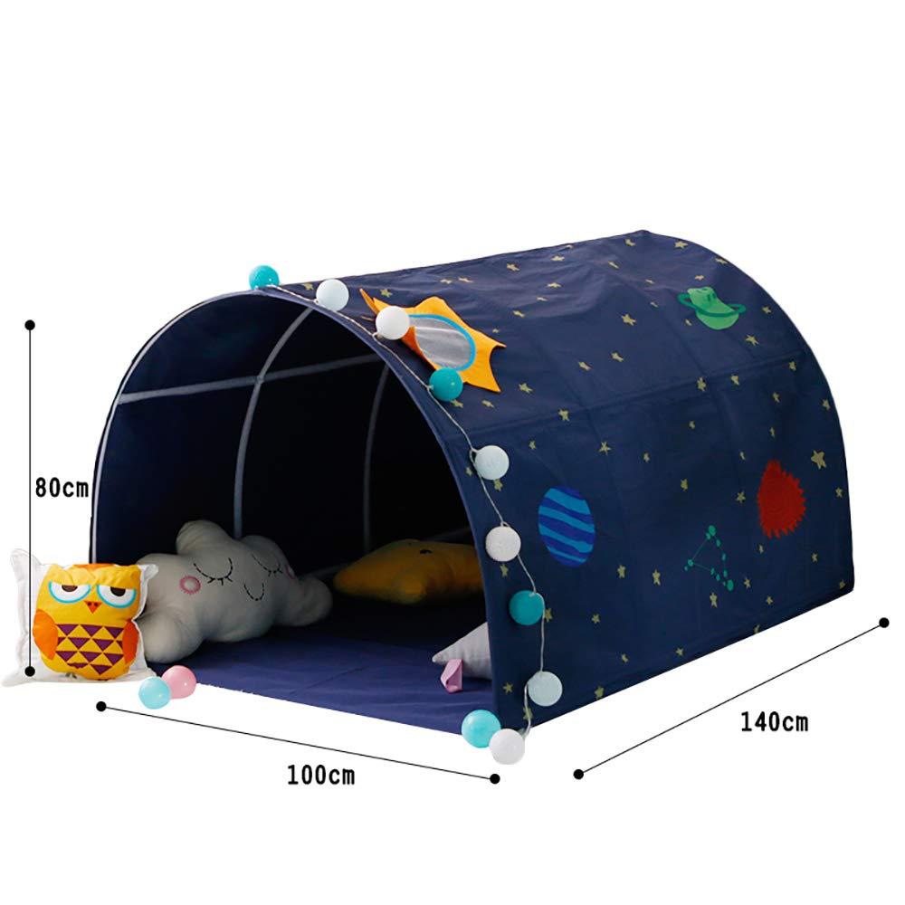 子供用ベッドテントゲームハウス サンルーフダブルカーライン縫製、素材環境に優しいタフネスポール B07MJFV714 B