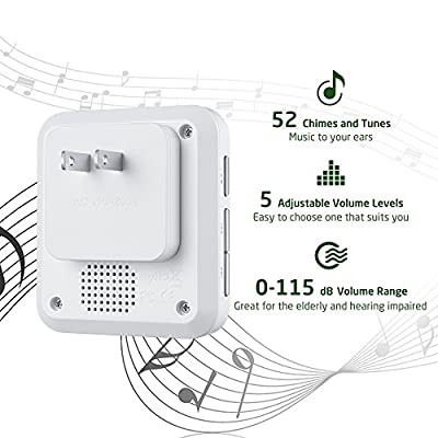 AVANTEK Mini Waterpoof Doorbell Operating at 1000 Feet with 52 Melodies, 5 Volume Levels & LED Flash