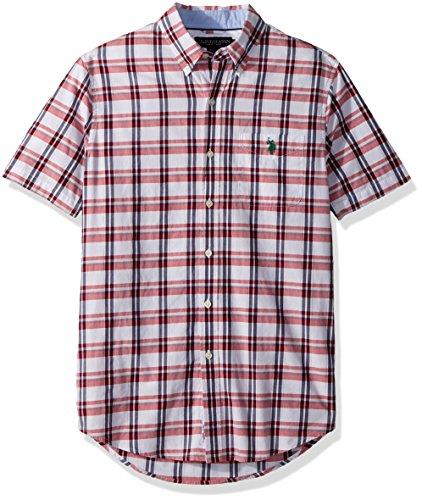 (U.S. Polo Assn. Men's Short Sleeve Classic Fit Plaid Shirt, Winning Red Lllj, L)