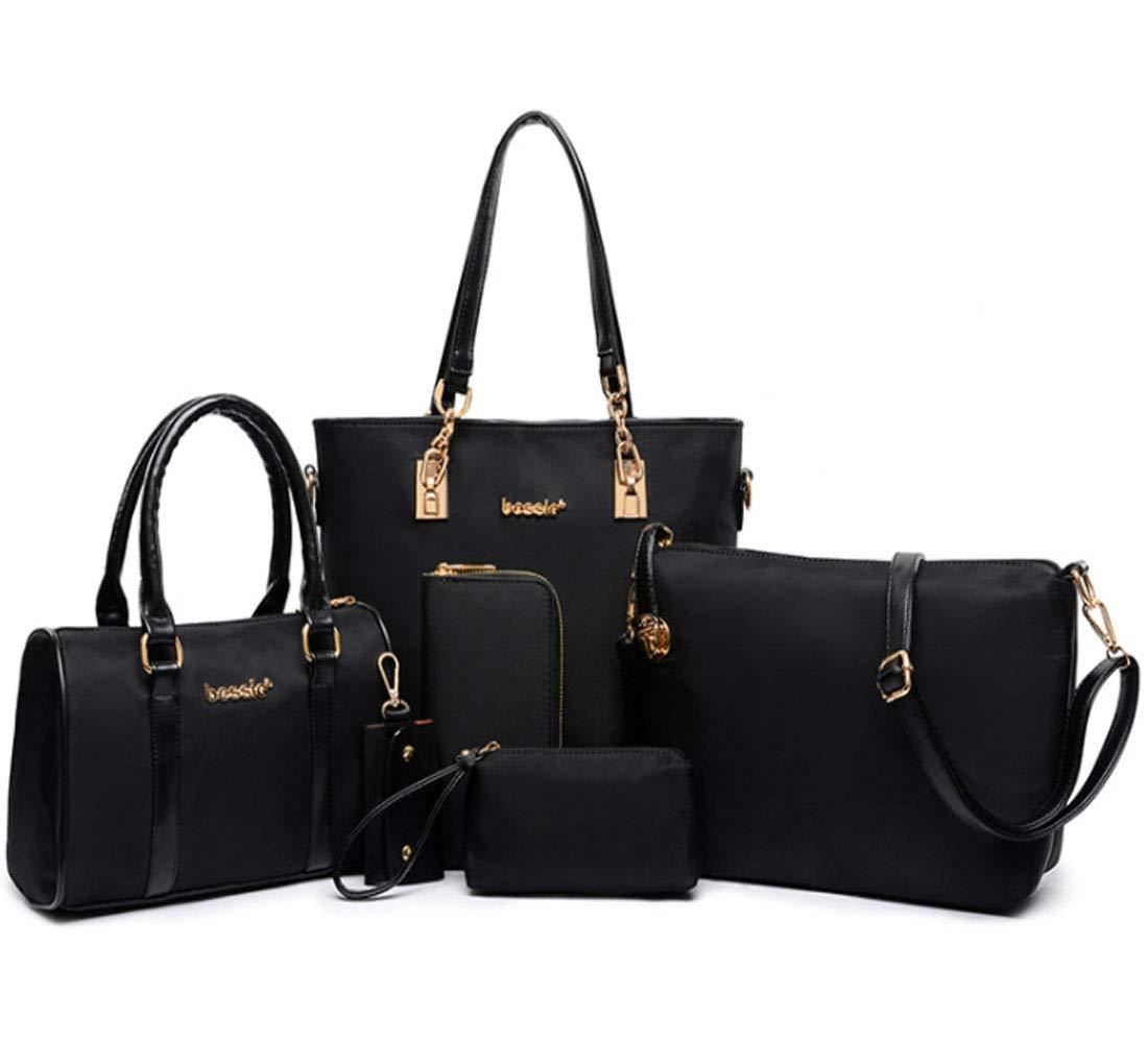 FiveloveTwo Women 6Pcs Handbag Set Nylon Top Handle Bag Totes Satchels Crossbody Shoulder Bags and Purse Clutch