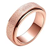 PAURO Women's & Men's Stainless Steel 5 Colors Sandblast Finish Lucky Worry Ring Band 6MM/8MM
