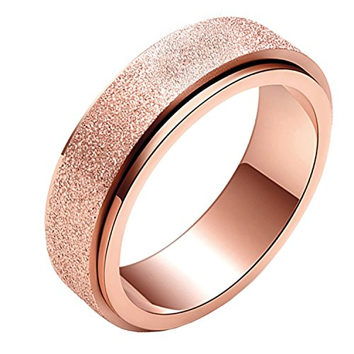 ess Steel Rose Gold Plated Sandblast Finish Lucky Spinner Worry Ring Band 6MM Size 7 ()