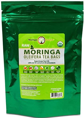 Moringa Source, USDA Organic, Raw, Caffeine-Free and Unflavored Moringa Oleifera Herbal Tea Bags (30ct) Packed With Antioxidants