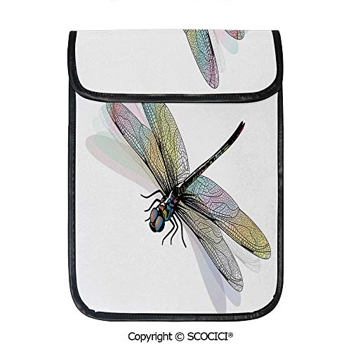- SCOCICI Protective Storage Carrying Sleeve Case - Shady Dragonfly Pattern with Ornate Lace Style Spiritual Beauty Wings Design Decorative Compatible with 12.9 Inch iPad Pro Tablet