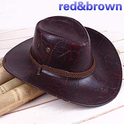 Cosplay Red Dead Redemption 2 Panama Hat Rdr2 Arthur Morgan Leather Western Cowboy Hat (Red & Brown)