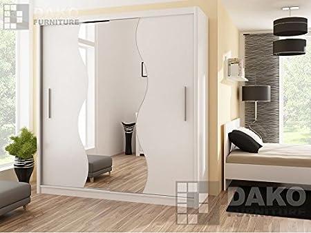 Armario de puerta corredera con espejo para dormitorio TOKYO 5, blanco, 203 cm de ancho.: Amazon.es: Hogar