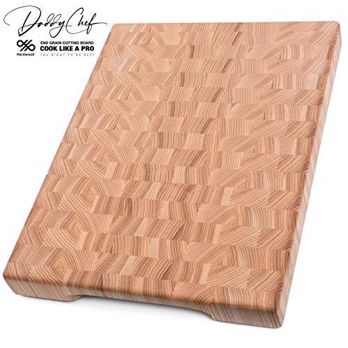 (Daddy Chef End Grain Wood cutting board for kitchen - Wood Chopping block - Large cutting board 16 x 12 Kitchen butcher block - non slip cutting board with feet)
