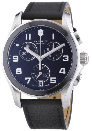 Victorinox Swiss Army Men's 241545 Leather Strap Chrono Classic Ceramic Bezel Watch