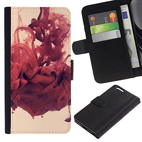 Funny Phone Case // Cuir Portefeuille Housse de protection Étui Leather Wallet Protective Case pour Apple Iphone 6 PLUS 5.5 /Rouge Abstrait/