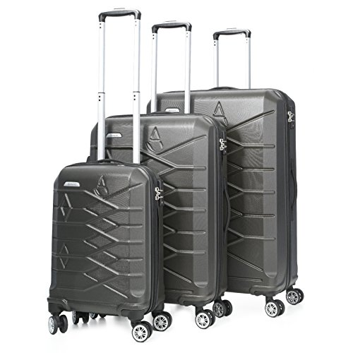 """Aerolite ABS Hard Shell 8 Wheel Spinner Luggage Suitcase Travel Trolley Cases (Charcoal, 21"""" Cabin + 25"""" + 29"""", 3 Piece Set)"""