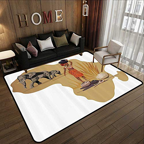 - Silky Smooth Bedroom Mats,Safari Decor Collection,Illustration with Africa Map and Traditional Local Lady Savannah Ceremony Features Tribe Print,M 47
