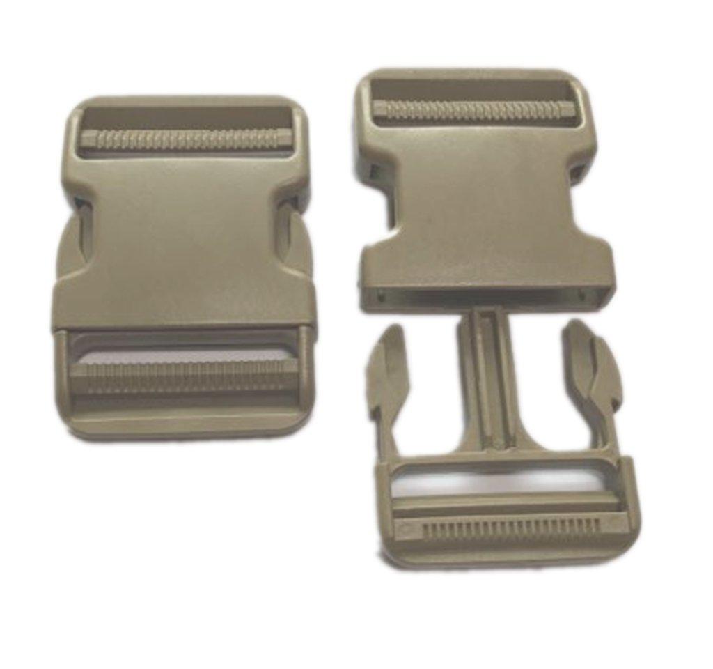 Ninepeak 2 Inch Flat Heavy Duty Dual Adjustable Side Release Plastic Buckles, 2 Set (Khaki) Chenyi ltd