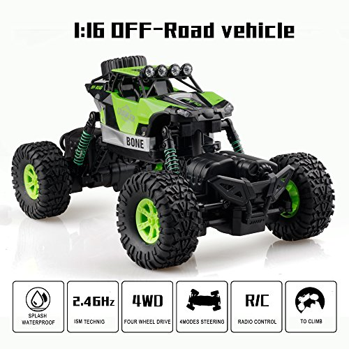 Gizmovine RC Rock Crawler Car 4WD 4 Modes Steering Waterproof 2.4Ghz Radio Control Toy Monster Truck Off Road (1/16 Scale)Green ZC0005-U2 Photo #4
