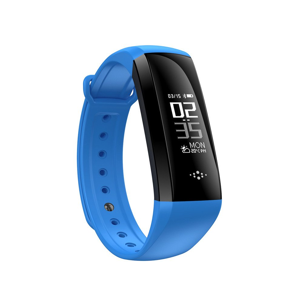 Smart BP HR SPO2 Bracelet M2S Smart Band Heart Rate Blood Pressure Pulse Meter Bracelet Fitness Watch Smartband for iOS Android (Blue)