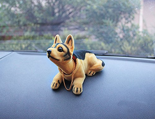 Price comparison product image Flee Bobble Head Dog Doll Shaking His Head Puppy Cute Decorations for Car Creative Gift (Shepherd)