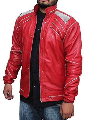 Mj Bad Costume (Michael Jackson Costume Collection Beat It Red Synthetic leather Jacket For Mens XS)