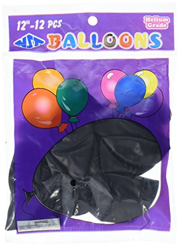 Homeford Premium Latex Balloons Plain Color, 12-Inch, Black, 12-Pack (Black Baloons)