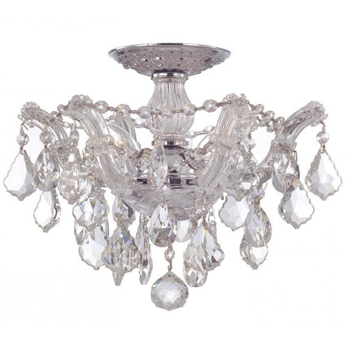 Crystorama Lighting 4430-CH-CL-MWP Semi Flush Mount with Hand Polished Crystals, Polished Chrome