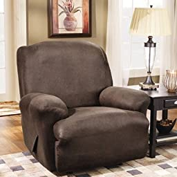 Sure Fit Stretch Leather 1-Piece  - Recliner Slipcover  - Brown (SF37162)