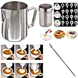Buytra Stainless Steel Milk Frothing Pitcher 12 oz Coffee Shaker Duster Icing Sugar Powder Cocoa Flour Sifter 16 Pieces Cappuccino Barista Coffee Art Stencils Pen For Sale
