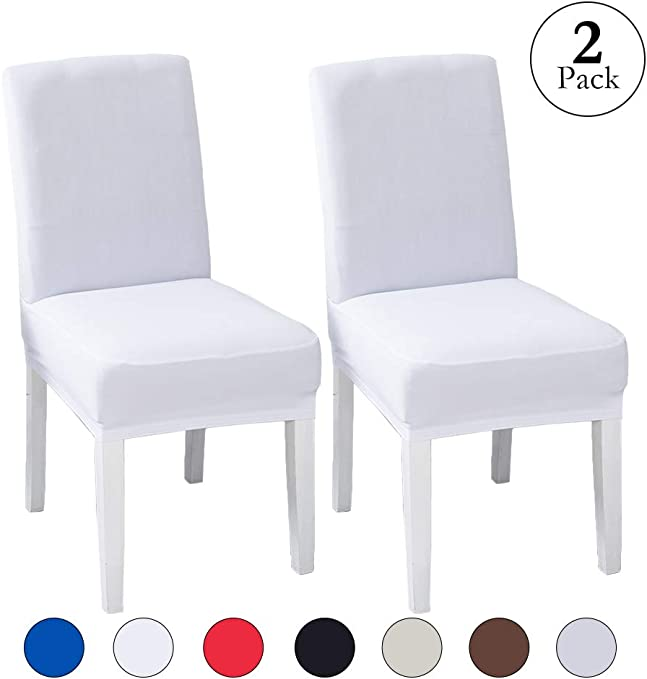 LINENLUX Velvet Spandex Fabric Stretch Dining Room Chair Slipcovers Home Decor (2 Pack, B-White)