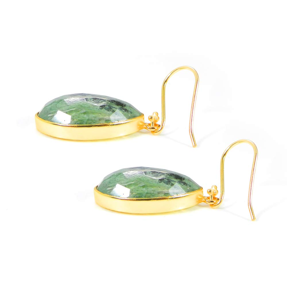Shilpi Impex Aqua Crackle Glass Gemstone Bezel Dangle Earring Pair Fashionable Jewelry