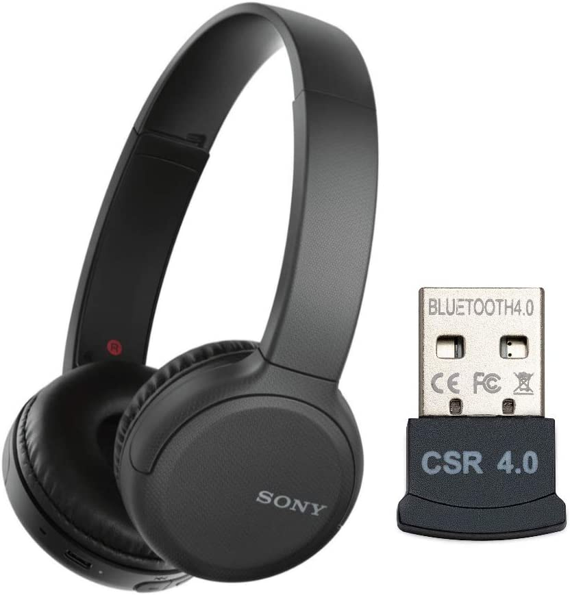 Sony WH-CH510 Wireless On-Ear Headphones (Black) with USB Bluetooth Dongle Adapter (2 Items)