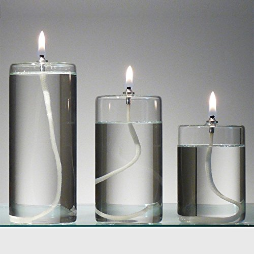 Refillable Glass Unscented Pillar Candle Gift Set of 3 - Use Alone, in a Candle Holder or Lantern - Oil Lamps Last a Lifetime and are a Unique Gift for Women (Oil Candle Glass Unity)