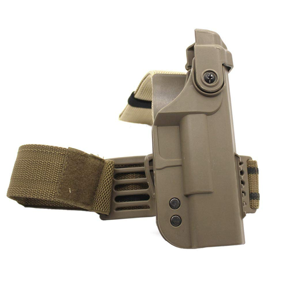 LIVIQILY Tactical Glock Leg Holster Right Hand Paddle Thigh Belt Drop Pistol Gun Holster w/Magazine Torch Pouch for 1911 Glock 17 19 22 23 31 32 (Tan-2) by LIVIQILY