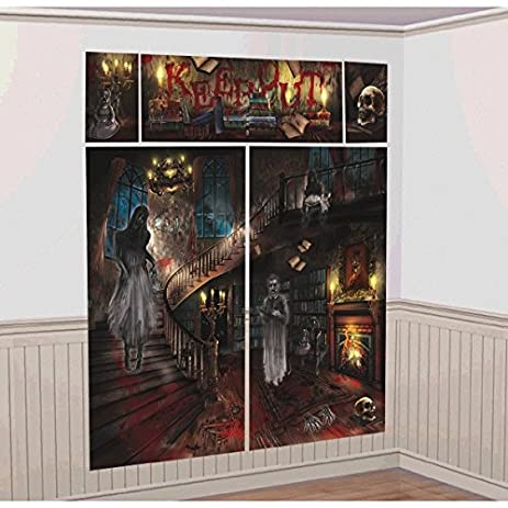 Haunted Mansion House Halloween Trick Or Treat Party Scene Setters Wall  Decorating Kit, Plastic,