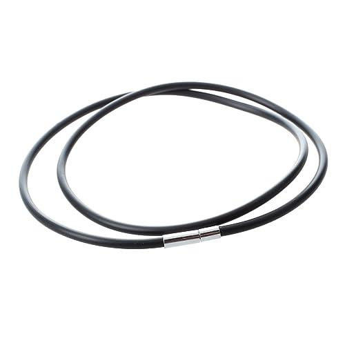 584a8db83d13 SODIAL(R) Collar de caucho negro de cierre de acero inoxidable con 3 ...