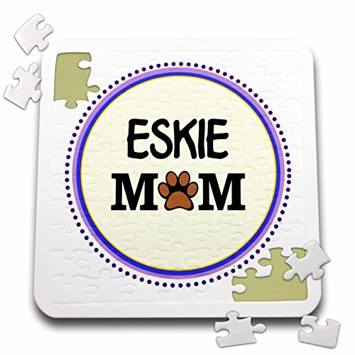 tore Pet Designs - Eskie Mom - American Eskimo Dog Breed - paw Print Mum - Circle - Doggie Mama - Doggy Love Dog Lovers - 10x10 Inch Puzzle (pzl_151677_2) ()