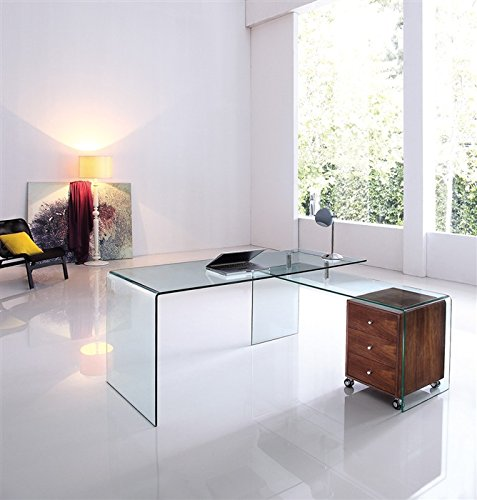 sdm Conjunto Escritorio Oficina + Mesa ala de Cristal Transparente ...