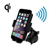Wireless Charger Car Mount Holder, 2-in-1 Qi Fast Wireless Charging Pad, Air Vent Cell Phone Bracket, Windshield Smartphone Holder, fit for Samsung Galaxy S8, S7, Note 8, iPhone 8, iPhone X and More.