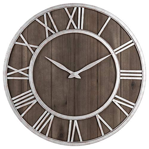 Dot Clock Brown - Oldtown Farmhouse Metal & Solid Wood Noiseless Wall Clock (Dark Brown, 18-inch)