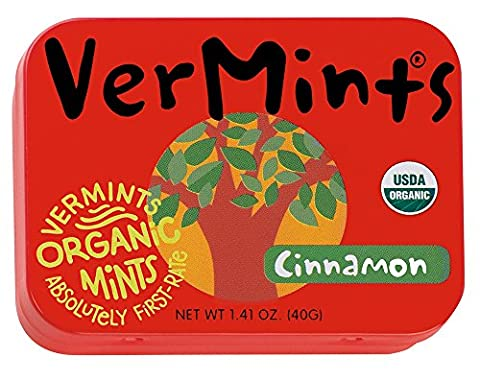 VerMints Organic Cinnamon Mints, 1.41oz Tins (Pack of 6) - Cinnamon Organic Sugar