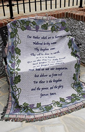 The Lord's Prayer Religious Grape Vine Tapestry Throw Blanket 50
