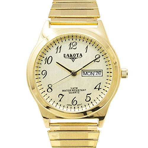 (Dakota Easy to Read Unisex 35mm Large Face Day/Date Twist Stainless Steel Expansion Stretch Band Water Resistant Watch (Gold with Champagne Arabic Dial))