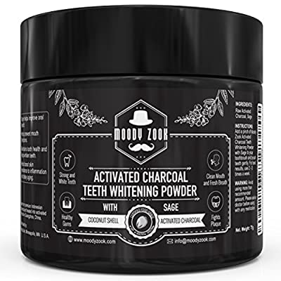 Activated Charcoal Powder with Sage by Moody Zook - Food Grade Made From Premium Coconut Shells and Organic Sage Powder