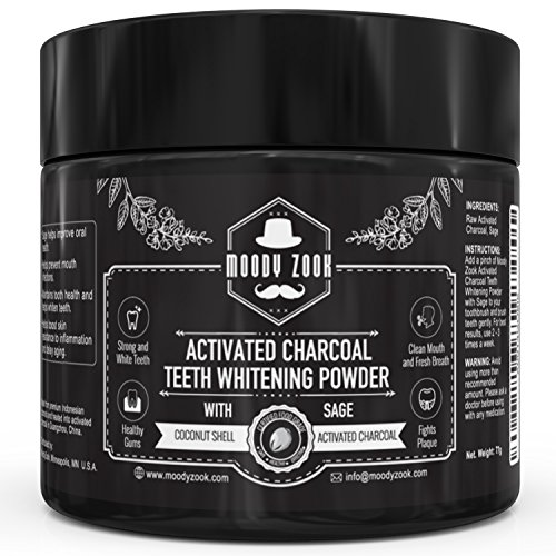 Natural Activated Charcoal Teeth Whitening Powder with Organic Sage by Moody Zook--Effective Against Gum Disease, Bad Breath, Cavity, Stain, Plaque, Gingivitis--Super Fine Texture for Sensitive Teeth