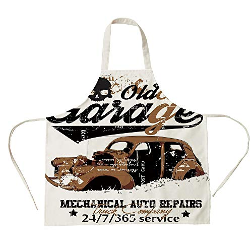 3D Printed Cotton Linen Big Pocket Apron,Cars,Old Garage Mechanical Auto Repairs Truck Company Skull Grunge Display Decorative,Pale Brown Black White,for Cooking Baking Gardening