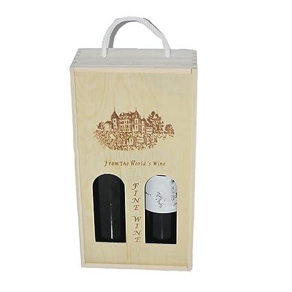 Lshky Hueco Caja De Vino Retro Madera Dos Botellas Color del Registro con Cerradura De Metal