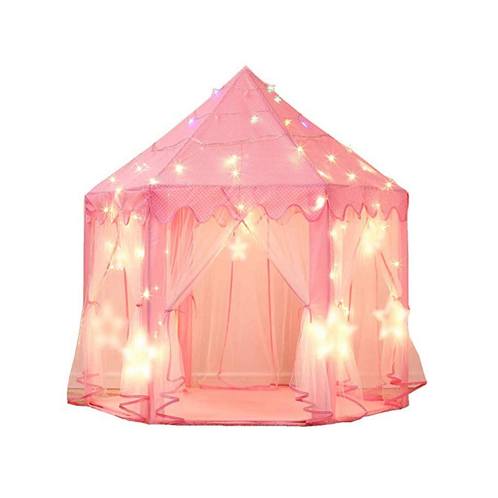 ManxiVoo Princess Castle Play Tent Kids Play House with Star Lights Large Indoor & Outdoor Tent Playhouse (Pink)