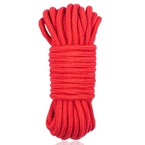 Fetish 10M Black Red Long Thick Cotton Sex Restraint Bondage Rope Body Hands Leg Harness Adult SM Game Toy for Couples Women Men Red by Wwenhhip