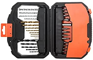 Black & Decker 30 Pieces Screwdriver Screw Kit & Titanium Drill Bits, A7183-xj;BLACK+DECKER  A7183-XJ Titanium Drilling and Screwdriver Bit Accessory Set - 30 Piece