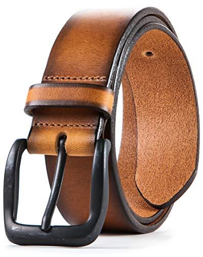 (Lebrutt Genuine Men's Leather Belt, Italian Full Grain Leather, Casual Jeans Leather Belts for Men, Hand Made in Canada)