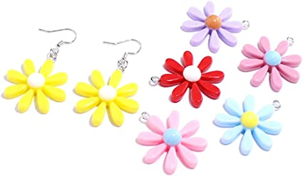 2 Yellow Flower Fairy Charm Dangles Pendant Jewelry Making Embellishments